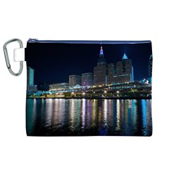 Cleveland Building City By Night Canvas Cosmetic Bag (xl)