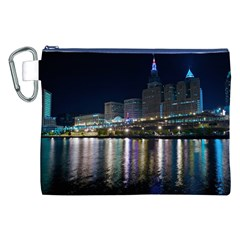 Cleveland Building City By Night Canvas Cosmetic Bag (xxl)