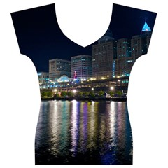 Cleveland Building City By Night Women s V-Neck Cap Sleeve Top