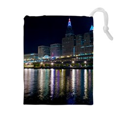 Cleveland Building City By Night Drawstring Pouches (extra Large)