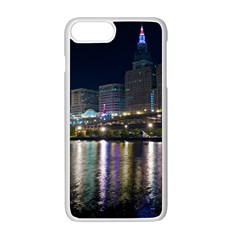 Cleveland Building City By Night Apple Iphone 7 Plus White Seamless Case