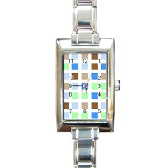 Colorful Green Background Tile Pattern Rectangle Italian Charm Watch