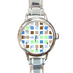 Colorful Green Background Tile Pattern Round Italian Charm Watch