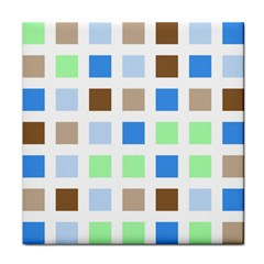 Colorful Green Background Tile Pattern Tile Coasters