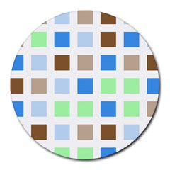 Colorful Green Background Tile Pattern Round Mousepads