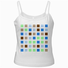 Colorful Green Background Tile Pattern White Spaghetti Tank