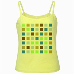 Colorful Green Background Tile Pattern Yellow Spaghetti Tank