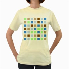 Colorful Green Background Tile Pattern Women s Yellow T Shirt