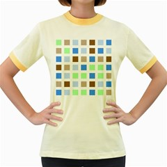 Colorful Green Background Tile Pattern Women s Fitted Ringer T Shirts