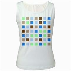 Colorful Green Background Tile Pattern Women s White Tank Top