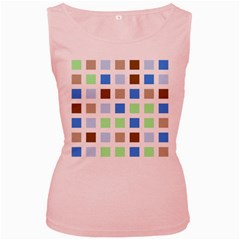 Colorful Green Background Tile Pattern Women s Pink Tank Top
