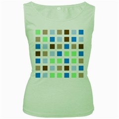 Colorful Green Background Tile Pattern Women s Green Tank Top