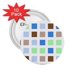 Colorful Green Background Tile Pattern 2 25  Buttons (10 Pack)