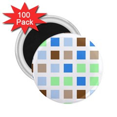 Colorful Green Background Tile Pattern 2 25  Magnets (100 Pack)