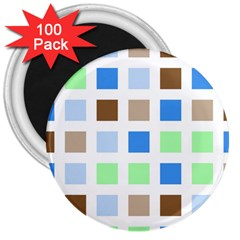 Colorful Green Background Tile Pattern 3  Magnets (100 pack)