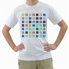 Colorful Green Background Tile Pattern Men s T Shirt (white) (two Sided)