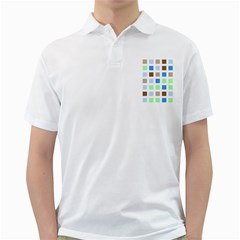 Colorful Green Background Tile Pattern Golf Shirts
