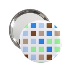Colorful Green Background Tile Pattern 2 25  Handbag Mirrors