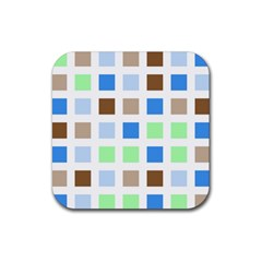 Colorful Green Background Tile Pattern Rubber Square Coaster (4 Pack)