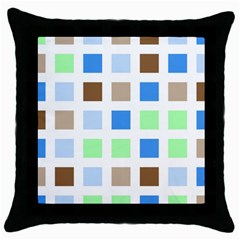 Colorful Green Background Tile Pattern Throw Pillow Case (black)
