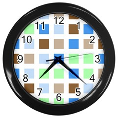 Colorful Green Background Tile Pattern Wall Clocks (Black)