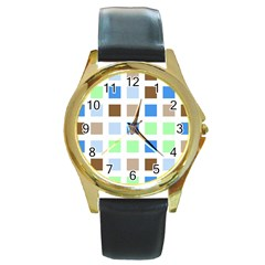 Colorful Green Background Tile Pattern Round Gold Metal Watch