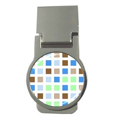 Colorful Green Background Tile Pattern Money Clips (round)