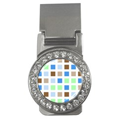 Colorful Green Background Tile Pattern Money Clips (cz)