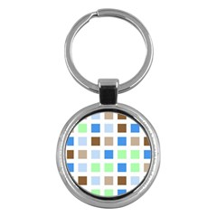 Colorful Green Background Tile Pattern Key Chains (round)