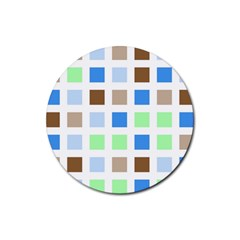 Colorful Green Background Tile Pattern Rubber Round Coaster (4 Pack)
