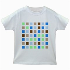 Colorful Green Background Tile Pattern Kids White T-Shirts