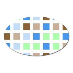 Colorful Green Background Tile Pattern Oval Magnet