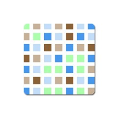 Colorful Green Background Tile Pattern Square Magnet