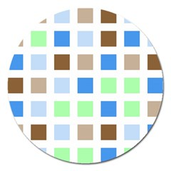 Colorful Green Background Tile Pattern Magnet 5  (round)