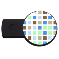 Colorful Green Background Tile Pattern Usb Flash Drive Round (2 Gb)