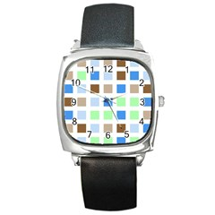 Colorful Green Background Tile Pattern Square Metal Watch