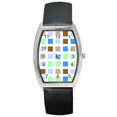 Colorful Green Background Tile Pattern Barrel Style Metal Watch