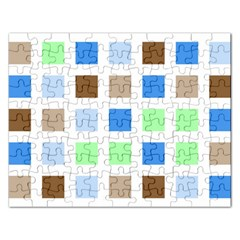 Colorful Green Background Tile Pattern Rectangular Jigsaw Puzzl