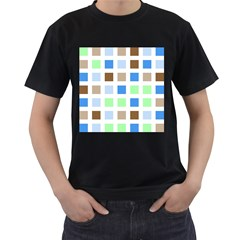 Colorful Green Background Tile Pattern Men s T Shirt (black) (two Sided)