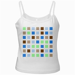 Colorful Green Background Tile Pattern Ladies Camisoles