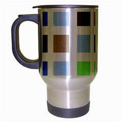 Colorful Green Background Tile Pattern Travel Mug (silver Gray)