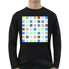 Colorful Green Background Tile Pattern Long Sleeve Dark T Shirts
