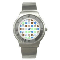 Colorful Green Background Tile Pattern Stainless Steel Watch