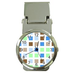 Colorful Green Background Tile Pattern Money Clip Watches