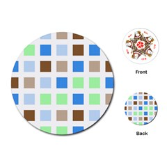 Colorful Green Background Tile Pattern Playing Cards (Round)