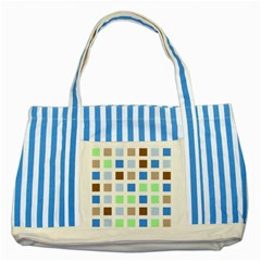 Colorful Green Background Tile Pattern Striped Blue Tote Bag