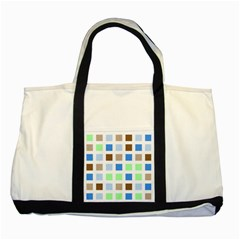 Colorful Green Background Tile Pattern Two Tone Tote Bag