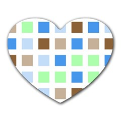 Colorful Green Background Tile Pattern Heart Mousepads