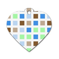 Colorful Green Background Tile Pattern Dog Tag Heart (two Sides)