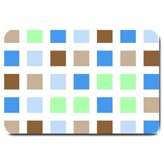 Colorful Green Background Tile Pattern Large Doormat